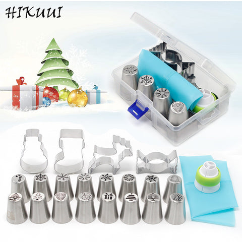 HIKUUI Christmas Style Pastry & Nozzle Cookie Mold Set