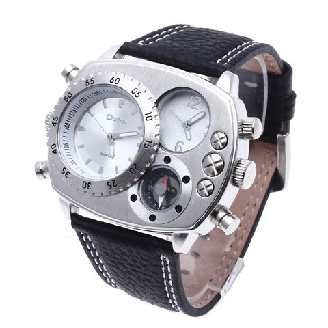 OULM Men's Watch Quartz Black Leather Strap Dual Time Out Sport