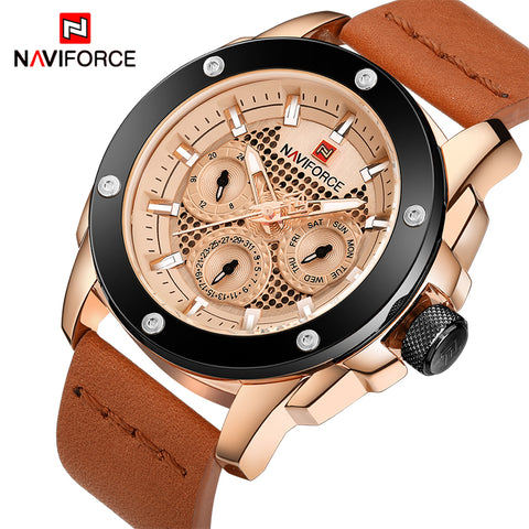 NAVIFORCE Luxury 24 Hour Date Clock  Waterproof Quartz Watch