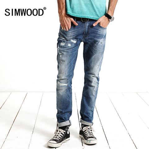 SIMWOOD New spring  Fashion Hole skinny Jeans