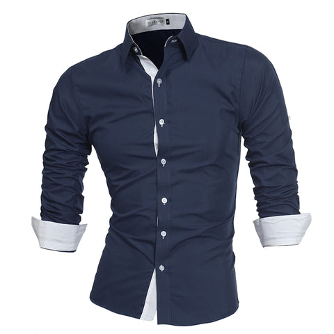 Lacontrie Men High Quality Long Sleeve Dress Shirt