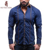 mens casual shirts blue