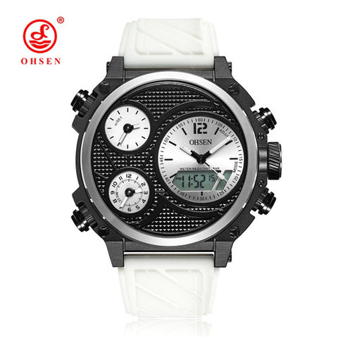 NEW OHSEN Rubber Band Dual Dial Digital Watch