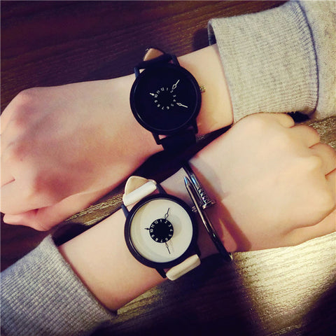 Faux Leather Strap Lovers Watches For Men Womens  Quartz Watch