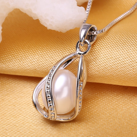 FENASY Pearl Jewelry Silver Necklace
