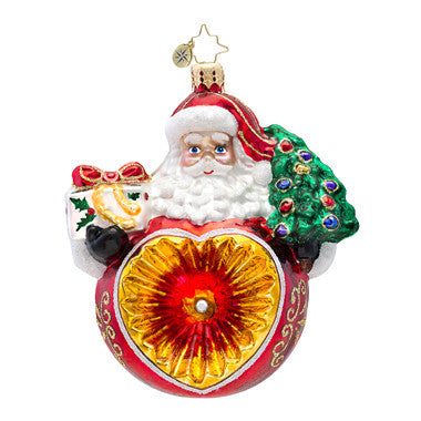 Radko HEARTWARMING CHRISTMAS Santa Heart reflector ornament NEW