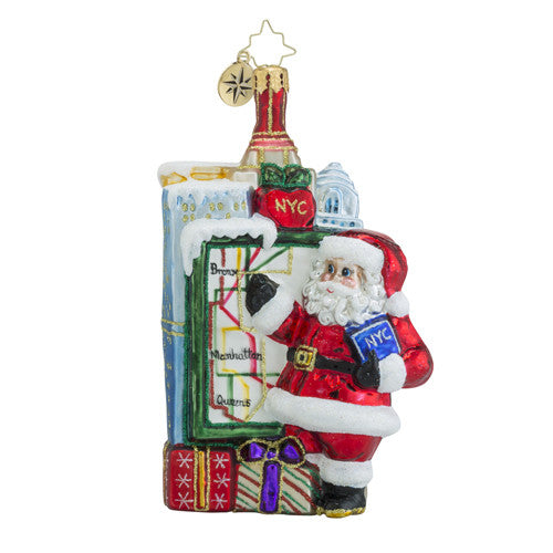 Radko Getting Around Town NYC Santa New York Ornament