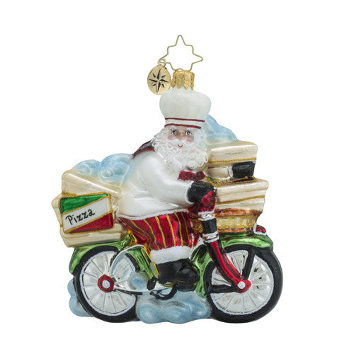Radko Peddlin' Pizza Delivery Bicycle Ornament