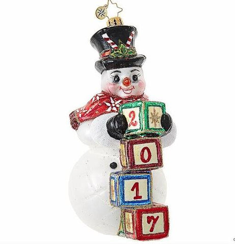 Christopher Radko Dated 2017 RIGHT ON TIME Snowman Ornament