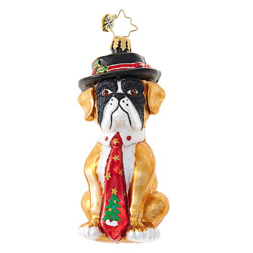 Christopher Radko HEY HAT DOG Bulldog Christmas Ornament New