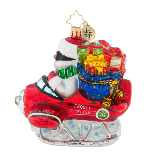 Christopher Radko Flying To Frosty Heights Airplane Ornament