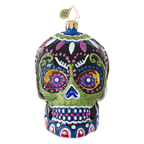 Christopher Radko DROP DEAD GORGEOUS SKULL Day of the Dead ornament New