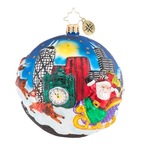 Christopher Radko Chi Town Christmas Chicago Santa Ornament New 2018