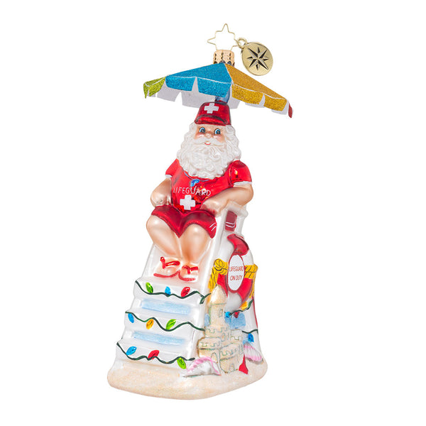 Christopher Radko ST NICK ON DUTY Lifeguard Santa Ornament NEW