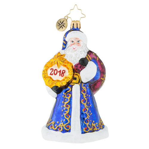 Christopher Radko  2018 Dated  A Year To Remember Santa Ornament