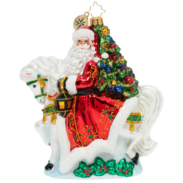 Christopher Radko Galloping into Christmas Horse & Santa Ornament
