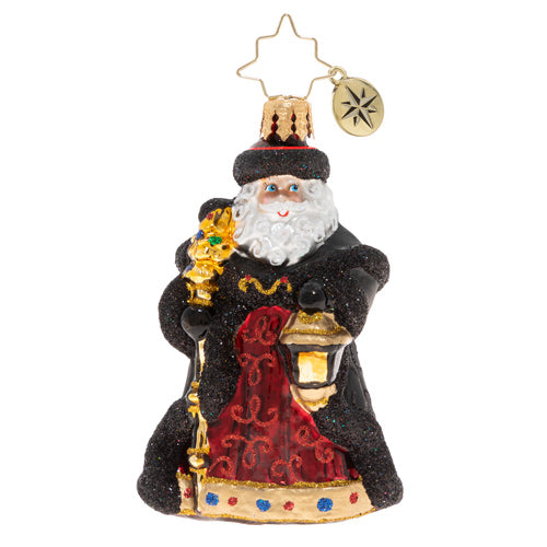 Christopher Radko Ebony Clad Mr. Claus Gem Santa Ornament