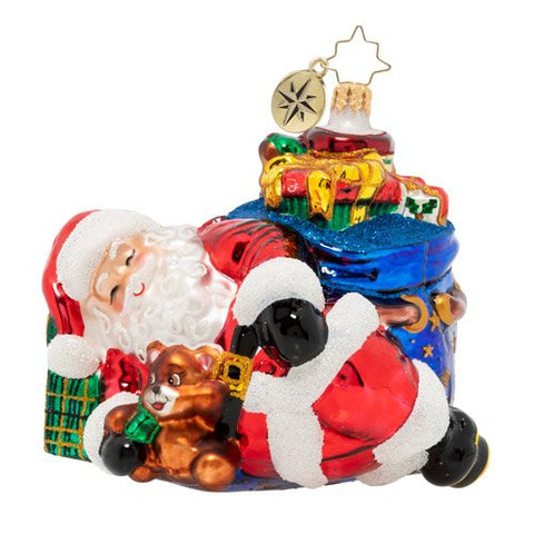 Christopher Radko Power Nap Nick Santa Ornament