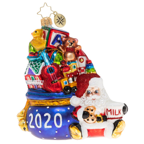 Christopher Radko 2020 Dated Milk Break Nick Santa Cookies Ornament