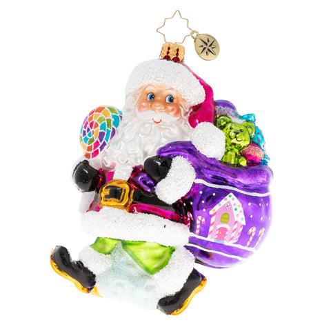 Christopher Radko A Sugary Stroll Candy Santa Ornament