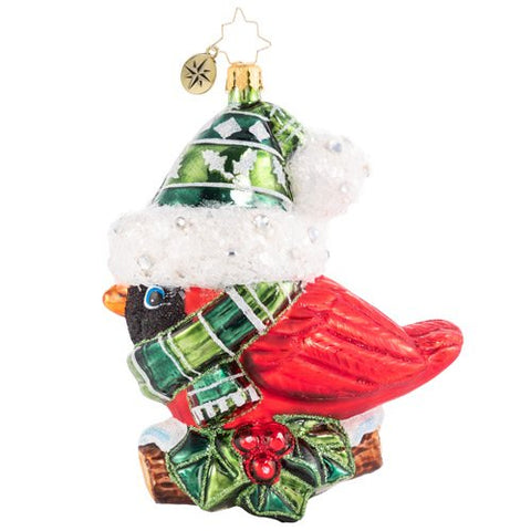 Christopher Radko Bundled-Up Feathered Friend Bird Ornament