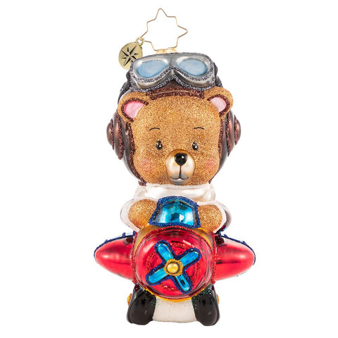 Christopher Radko Soaring To Beary-Good Heights! Airplane Ornament