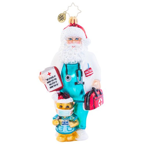 Christopher Radko Covid 19 Dr Claus Cares Santa Ornament 2020