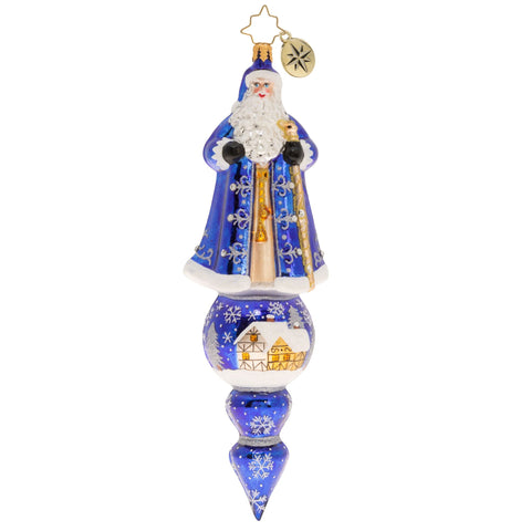 Christopher Radko Santa Is Tops! Blue Icicle Drop Ornament New