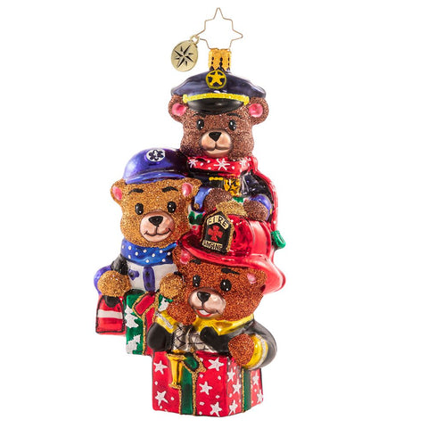 Christopher Radko Beary Best Rescuers Police Fire Fighter EMT Ornament