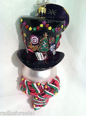 Radko SUGARED CHAPEAU Candyman Snowman ornament Retired Sale