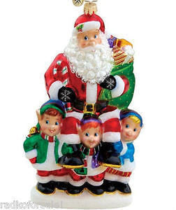 RADKO HE'S A JOLLY GOOD FELLOW Santa ornament NEW with 3 KIDS