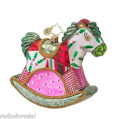 Radko QUILTY QUENTIN Rocking Horse Quilt Patchwork Pony ornament NEW