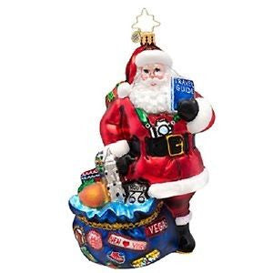 Radko I'VE BEEN EVERYWHERE Traveler Santa ornament
