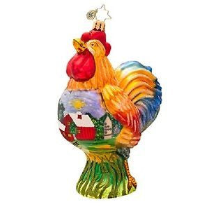 Radko BARNYARD BURNER Rooster ornament NEW