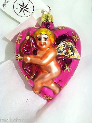 RADKO BE MY VALENTINE Pink Heart Cupid 1996 vintage ornament MIB