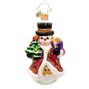 Radko LITTLE GEMS Fancy Frost Snowman Gem ornament NEW