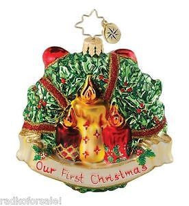 Radko HEART FELT HOLLY Our First Christmas ornament NEW