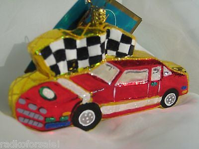 Radko FIRST TO THE FINISH Cookie Race Car ornament NEW