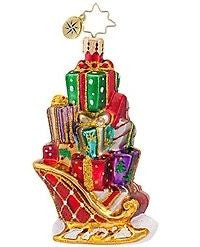 Radko LITTLE GEMS Gifts on the Go Sleigh ornament NEW GEM