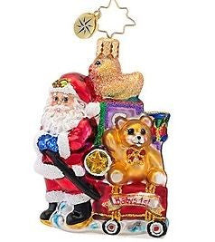Radko LITTLE GEMS Showered with Toys Santa ornament NEW Babys 1st