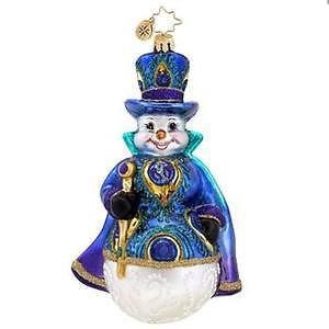 Radko SNOWY PLUMAGE Snowman Peacock Design ornament NEW