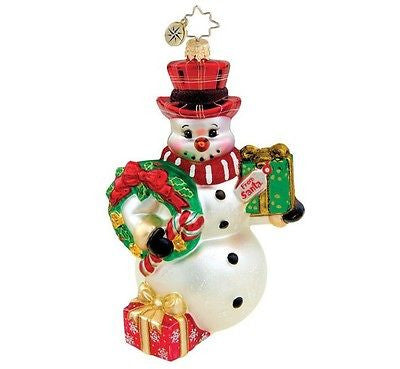 Radko FROSTY TIDINGS Snowman ornament New
