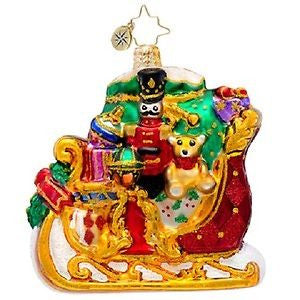 Radko LITTLE GEMS Dashing thru the Snow Gem Sleigh ornament NEW