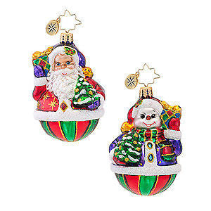 Radko LITTLE GEMS A Festive Pair two sided ornament NEW friends