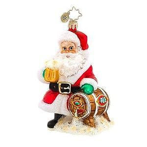 Radko HOPPY HOLIDAYS TO YOU Santa with Beer Ornament