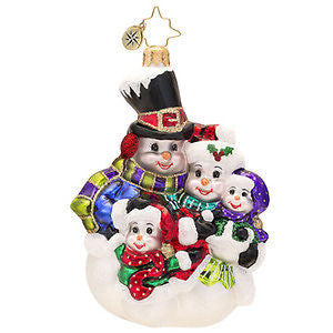 Radko SNOW FAMILY of 4 PORTRAIT Snowman ornament NEW