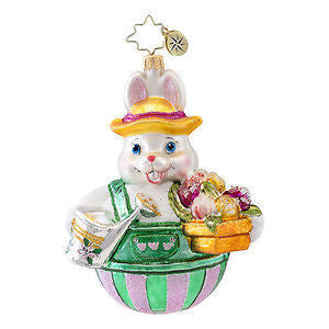 Radko HOPPY HOLIDAYS Bunny Gardener ornament NEW