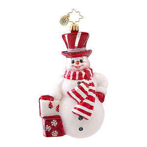 Radko PRINCE FROST Snowman Red & White ornament New