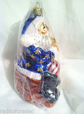 Radko MAKING HIS LIST Patriotic Santa 1997 ornament