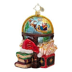 Radko CHARTING THE COARSE Santa GLOBE ornament NEW